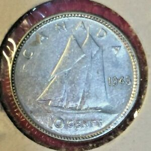 1943 10 CENT CANADA SILVER COIN GEORGIE VI.  GOOD .