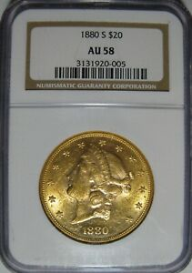 NGC AU58 1880 S $20 GOLD LIBERTY DOUBLE EAGLE. OLD HOLDER. NICE LUSTER