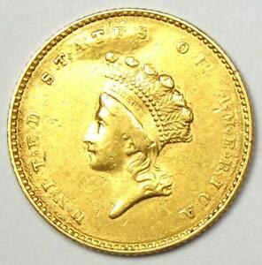 1854 TYPE 2 INDIAN GOLD DOLLAR  G$1 COIN    XF / AU DETAILS    TYPE TWO