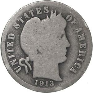 1913 BARBER DIME 90  SILVER ABOUT GOOD AG
