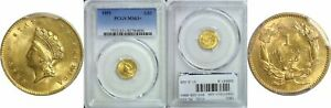 1855 TYPE 2 $1 GOLD COIN PCGS MS 63
