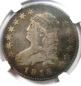 1818 CAPPED BUST QUARTER 25C   NGC FINE DETAILS    COIN    DATE
