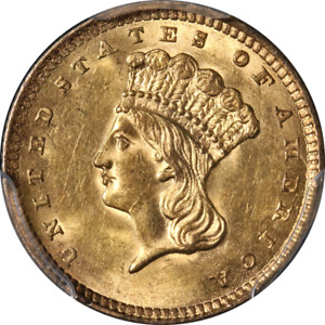 1857 TYPE 3 INDIAN PRINCESS GOLD $1 PCGS MS62 GREAT EYE APPEAL STRONG STRIKE