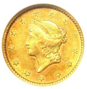 1849 LIBERTY GOLD DOLLAR COIN G$1 OPEN WREATH   CERTIFIED NGC AU55    COIN