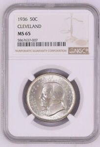 1936 CLEVELAND COMMEMORATIVE HALF DOLLAR MS65 NGC CERTIFIED MS 65 SILVER 50C