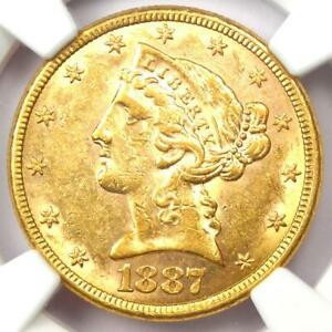 1887 S LIBERTY GOLD HALF EAGLE $5 COIN   CERTIFIED NGC AU58    GOLD COIN