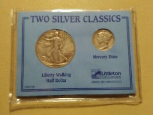 TWO SILVER CLASSICS WALKING LIBERTY AND MERCURY DIME SET   US COINAGE LOT566