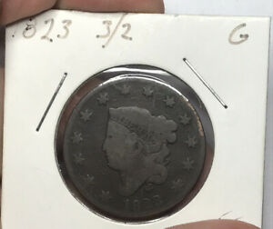 1823 3/2 MATRON HEAD CORONET HEAD LARGE CENT