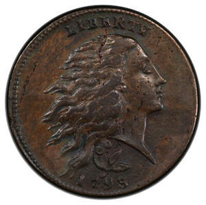 1793 WREATH 1C VINE AND BARS EDGE FLOWING HAIR LARGE CENT PCGS XF45BN