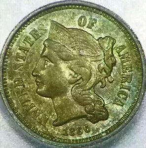 1866 3 CENT NICKEL 3C MS63 UNCIRCULATED ICG ENCAPSULATED NICE COIN THREE I47
