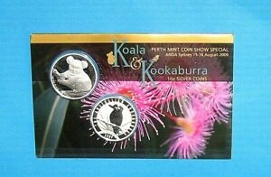 Click now to see the BUY IT NOW Price! KOALA AND KOOKABURRA 2009 PERTH ANDA SHOW 2 X ONE OUNCE PURE SILVER COINS NICE