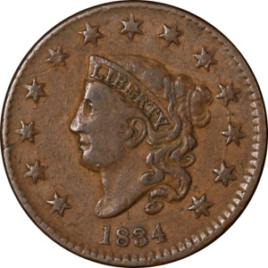 1834 LARGE CENT SMALL '8' LARGE STARS CHOICE VF  N.2 R.1 SUPERB EYE APPEAL