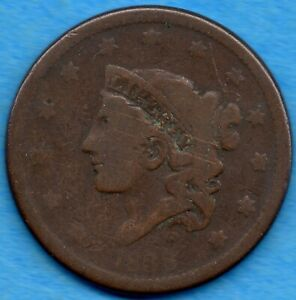 UNITED STATES 1838 1 CENT LARGE PENNY COIN   CIRCULATED