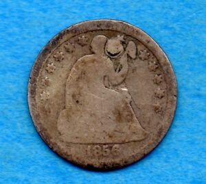 UNITED STATES 1856 O 5 CENTS HALF DIME SILVER COIN   PLUGGED HOLE