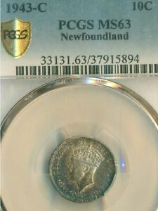 Click now to see the BUY IT NOW Price! 1943 C  NEWFOUNDLAND 10CENTS COIN ; PCGS GRADED MS 63