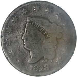 1828 CORONET LARGE CENT LARGE NARROW DATE ABOUT GOOD AG
