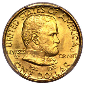 GRANT WITH STAR 1922 G$1 GOLD COMMEMORATIVE PCGS MS66