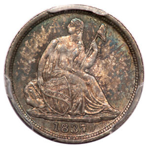 1837 H10C NO STARS SMALL DATE LIBERTY SEATED HALF DIME PCGS MS64