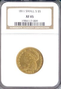 1811 $5 CAPPED BUST SMALL 5 XF45 NGC  PA1984117009