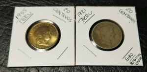 2 PERU COINS: 1921 & 1955   20 CENTAVOS  ONE UNC AND THE OTHER CIRCULATED