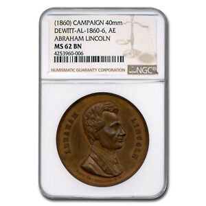 Click now to see the BUY IT NOW Price! 1860 LINCOLN CAMPAIGN MEDAL MS 62 NGC  BROWN    SKU227062