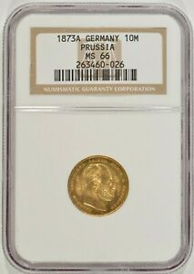 1873 A GERMANY PRUSSIA GOLD 10 MARKS NGC MS66 263460 026