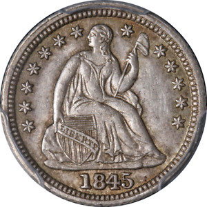 1845 SEATED LIBERTY HALF DIME RE CUT DATE PCGS MS62 NICE EYE APPEAL