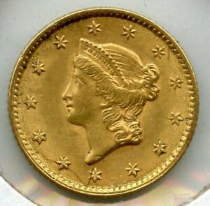 1853 LIBERTY HEAD EARLY GOLD DOLLAR $1 COIN   BL512