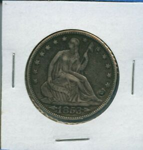 1853 P SEATED LIBERTY HALF DOLLAR US SILVER COIN 1853 P ARROWS RAYS PLUGGED