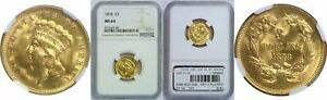 1878 $3 GOLD COIN NGC MS 64