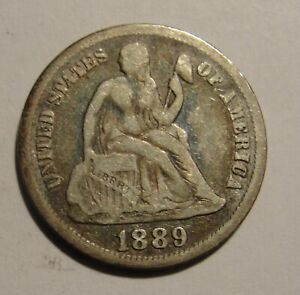 1889 AND A 1850 SEATED LIBERTY DIME