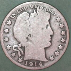 1914 S BARBER HALF DOLLAR 50C SILVER COIN GOOD DETAIL  01