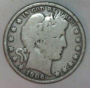 1906 P BARBER HALF DOLLAR VG CONDITION   08