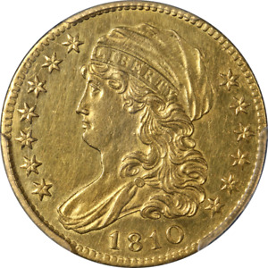 1810 LIBERTY GOLD $5 SM DATE TALL 5 PCGS AU DETAILS GREAT EYE APPEAL