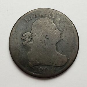 1804 DRAPED BUST HALF CENT CROSSLET STEMS