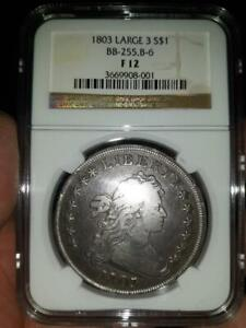 1803 DRAPED BUST DOLLAR LARGE 3  FINE F12 NGC CERTIFIED