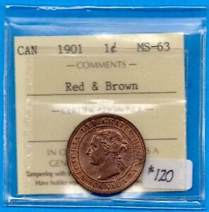CANADA 1901 1 CENT ONE LARGE CENT COIN   ICCS MS 63 RED & BROWN
