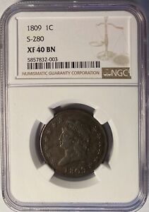 1809 CLASSIC HEAD LARGE CENT NGC XF40  TOUGH THIS NICE