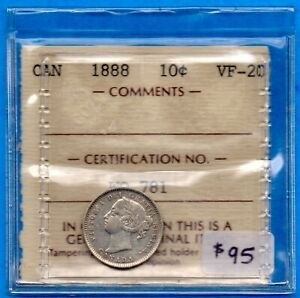 CANADA 1888 10 CENTS TEN CENT SILVER COIN   ICCS VF 20