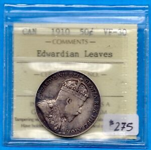 CANADA 1910 EDW LEAVES 50 CENTS FIFTY CENTS SILVER COIN   ICCS VF 30