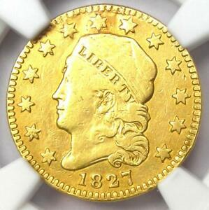 1827 CAPPED BUST GOLD QUARTER EAGLE $2.50 COIN   NGC VF DETAILS    DATE