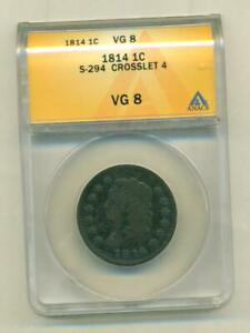 ANACS VG 9 1814 LARGE CENT CROSSLET 4