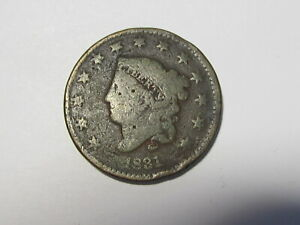 1831 CORONET HEAD LARGE CENT PENNY IN LOW GRADE CONDITION