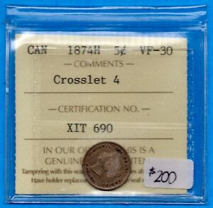 CANADA 1874 H CROSSLET 4 5 CENTS FIVE CENT SMALL SILVER COIN   ICCS VF 30