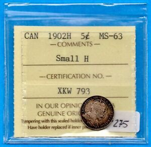 CANADA 1902 SMALL H 5 CENTS FIVE CENT SMALL SILVER COIN   ICCS MS 63
