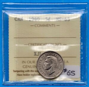 CANADA 1940 5 CENTS FIVE CENT NICKEL COIN   ICCS MS 63