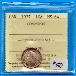CANADA 1937 10 CENTS TEN CENT SILVER COIN   ICCS MS 64