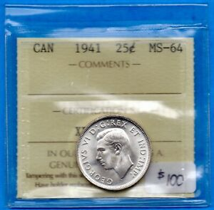 CANADA 1941 25 CENTS TWENTY FIVE CENT SILVER COIN   ICCS MS 64