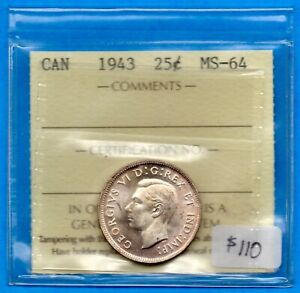 CANADA 1943 25 CENTS TWENTY FIVE CENT SILVER COIN   ICCS MS 64