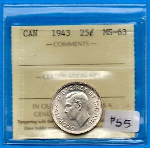CANADA 1943 25 CENTS TWENTY FIVE CENT SILVER COIN   ICCS MS 63